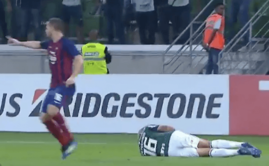 "Palmeira striker Deyverson -aka""Diver-son""- sent off after excessive display of diving in Copa Libertadores clash"
