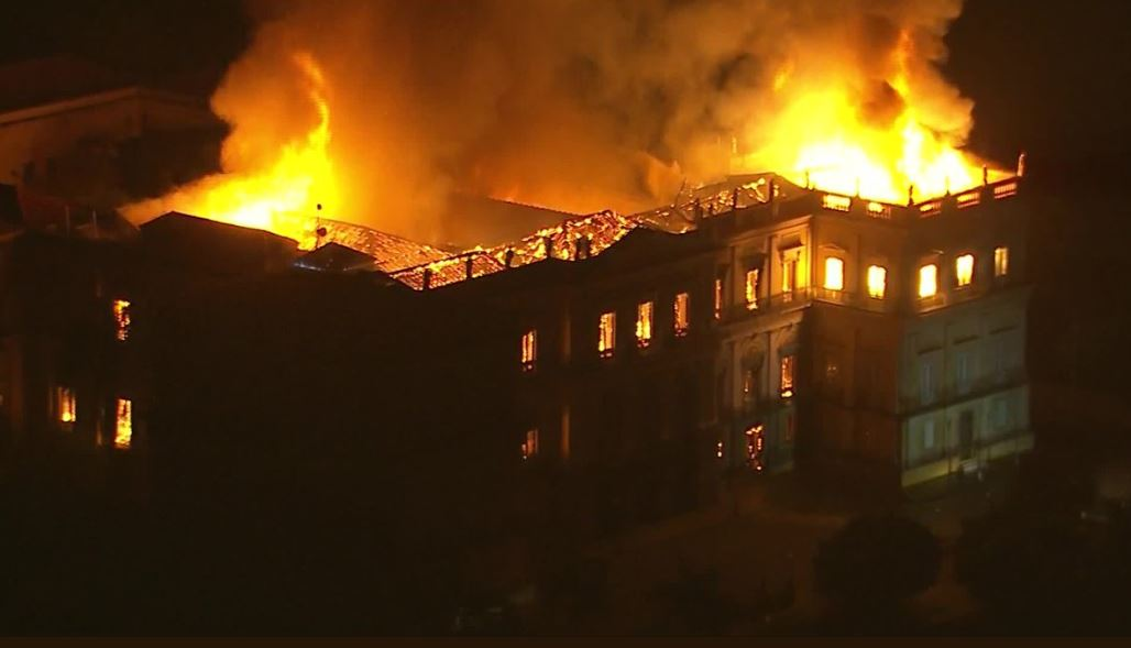 Fire that destroyed contents of Brazil's 200 year-old National Museum sparks protests